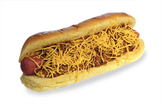 Hot dog with shredded cheese and chili