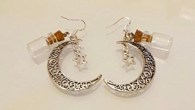Half moon stars earrings herb of choice