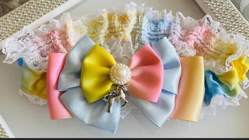 Rainbow themed garter