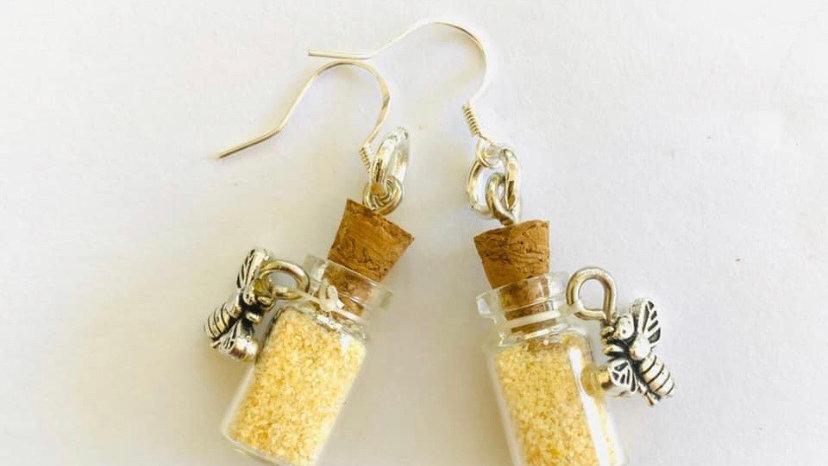 Bee with honey vial earrings