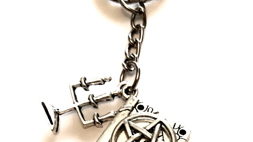 Witch with spell book keyring
