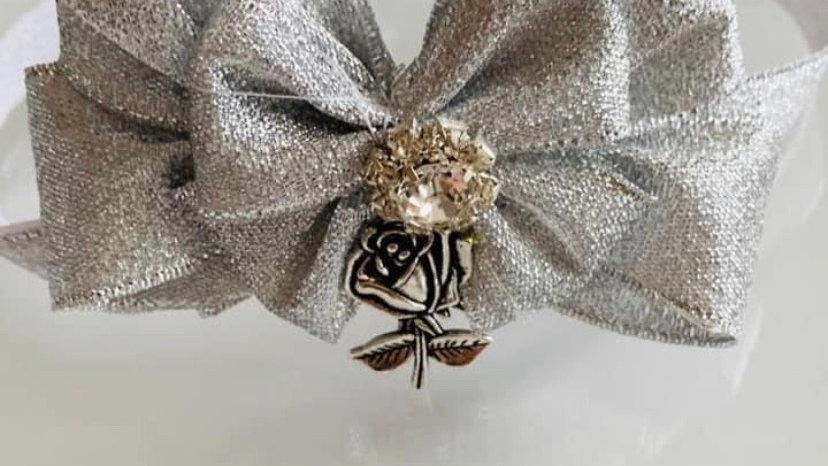 Silver rose cat/dog collar