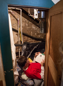 Harry under the stairs at Carkitt Market