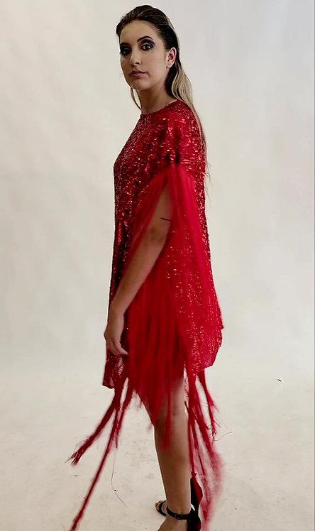 RED SEQUIN FRINGE PONCHO DRESS