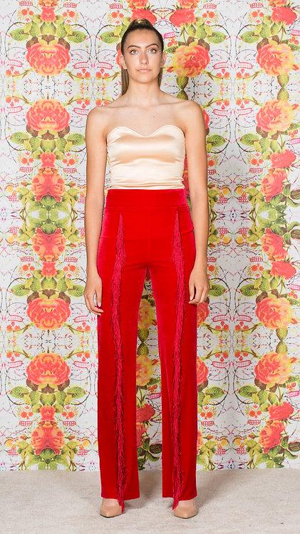 RED FRINGE PANTS