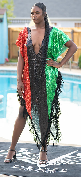 FLAG PONCHO DRESS