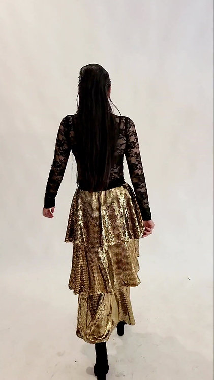 GOLD TIERED SEQUIN SKIRT