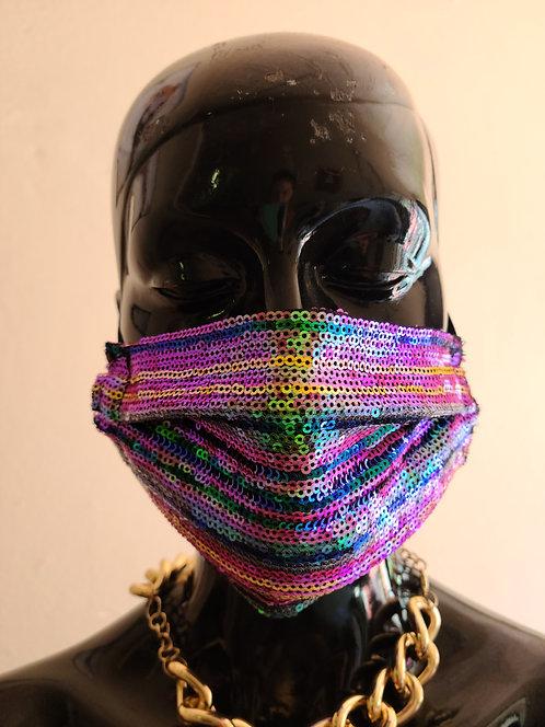 Multi Color Stripe Sequin Mask