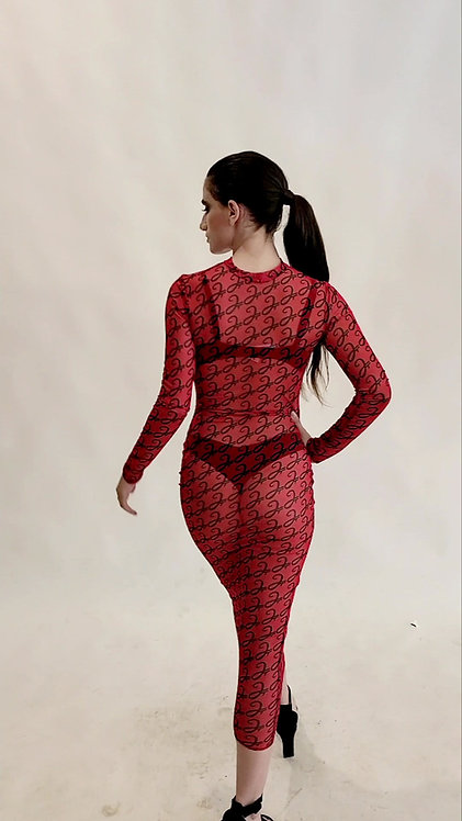RED SMOOTH MESH DRESS