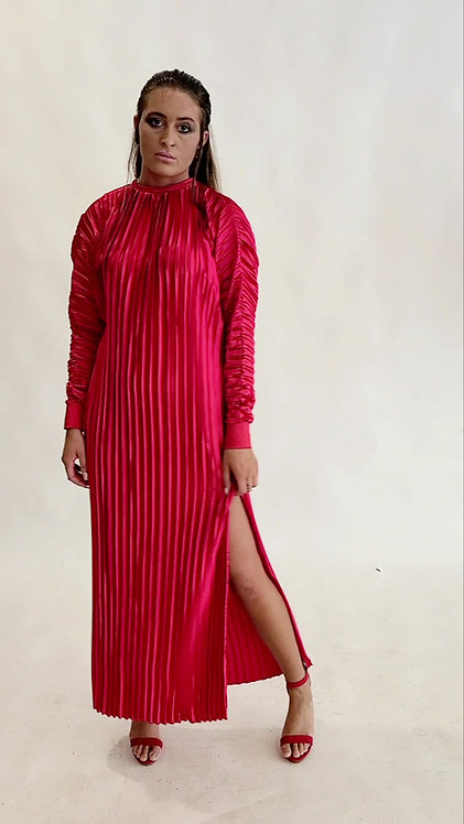 RED PLEATED BATWING DRESS
