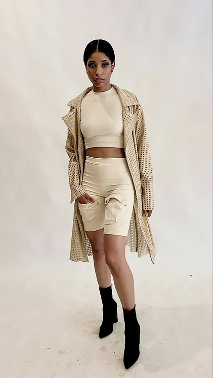 PERFORATED FAUX LEATHER TRENCH
