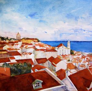 Lisbon, Watercolor 20x20