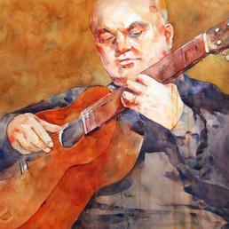 Tango Guitar, Watercolor