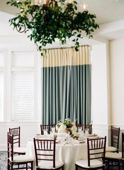 greenery on chandelier