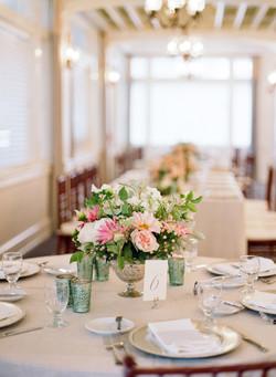 floral centerpiece teal votives