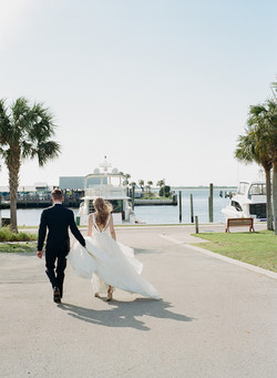 Bride and Groom at the Marina