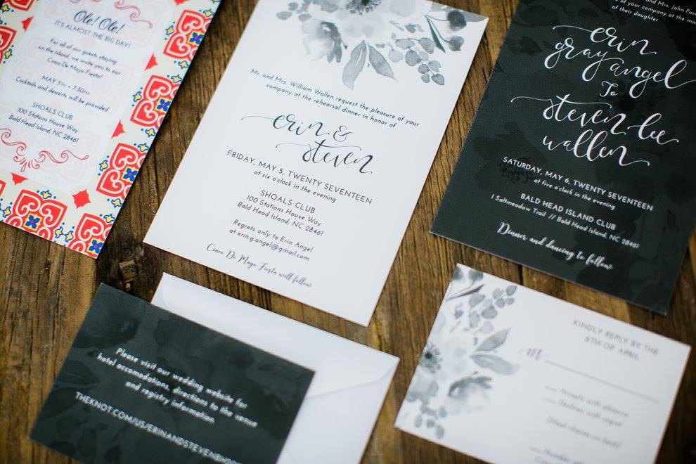 grey and white invitations