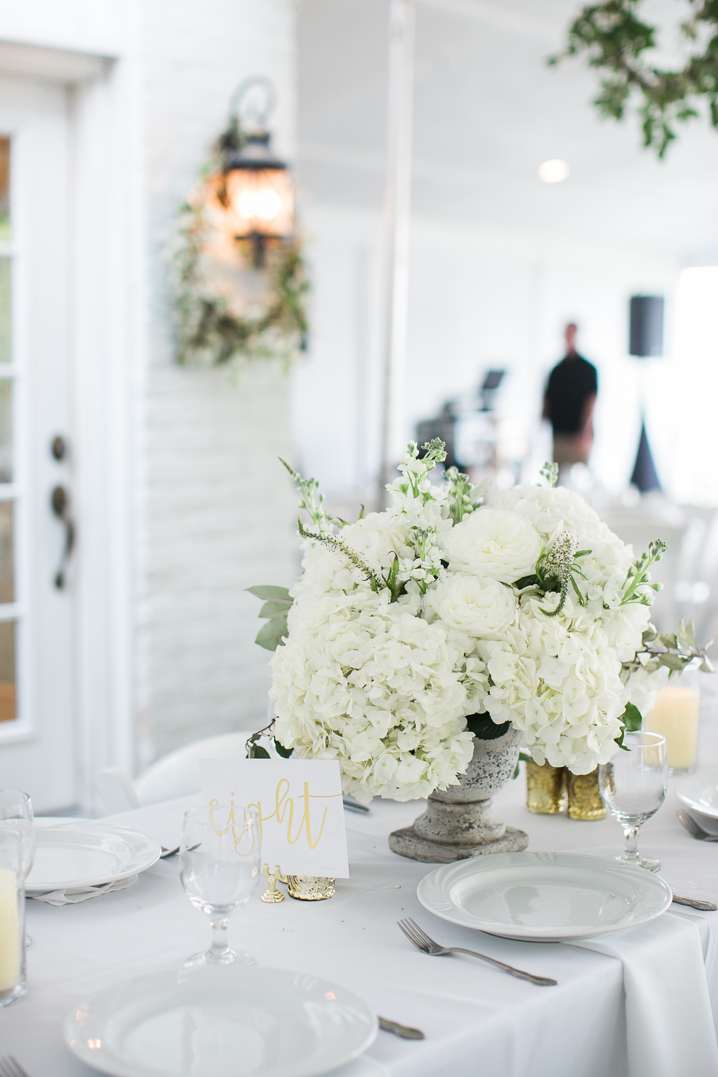 all white & greenery centerpiece