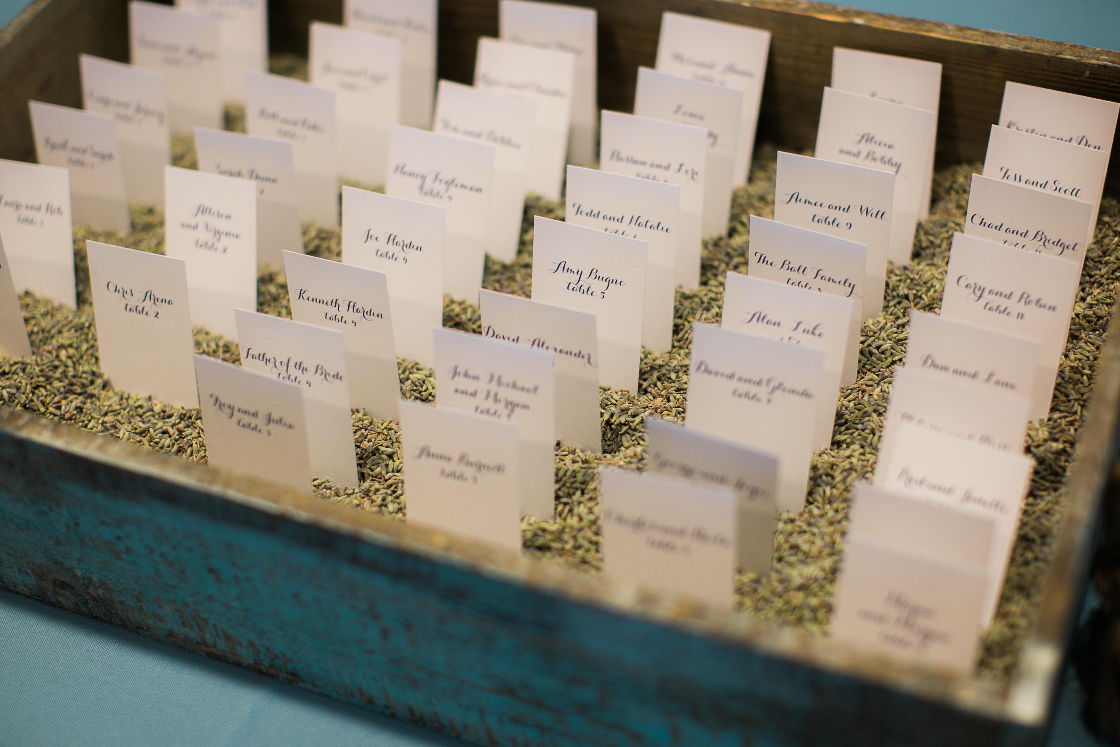 escort cards in lavender seeds
