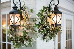 wreaths on sconces