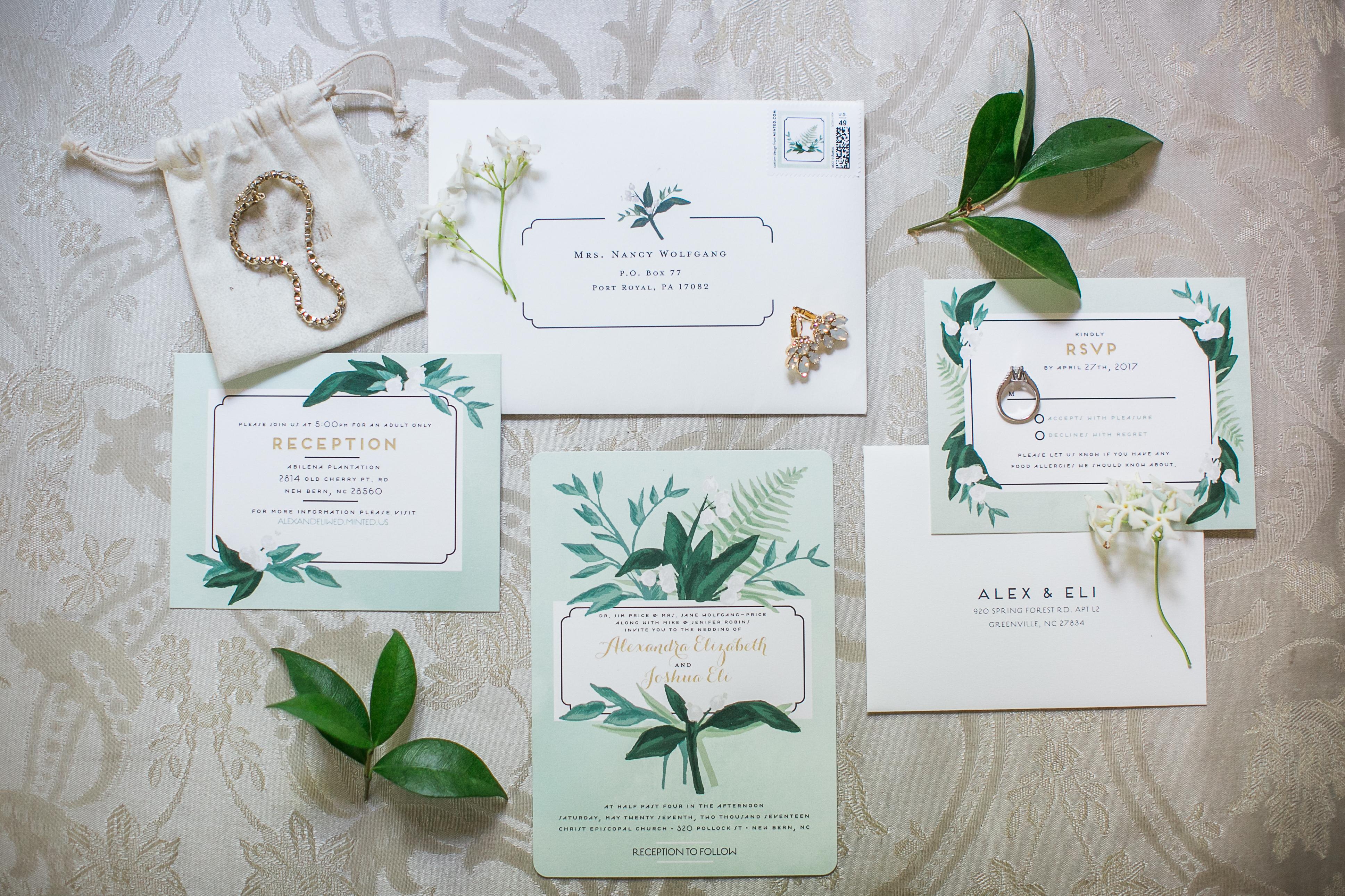 green invitation suite
