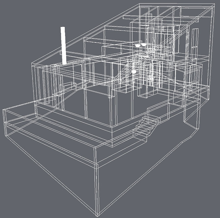 Sea Ranch house 3D wireframe image