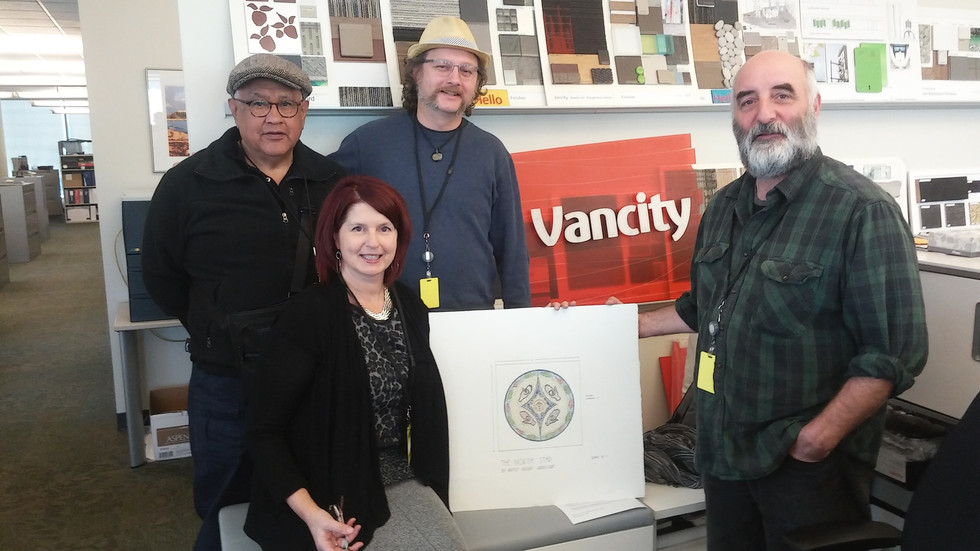 GreenLight members Shane Point, Sarita Baker and Rob Martin, with Bruce Walther, Mosaicist