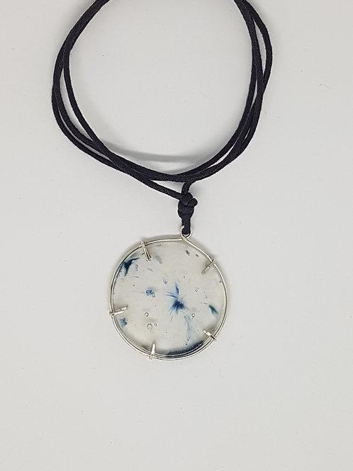 Cast Glass & Silver Pendant (Blue)