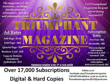 2021 Ad Rates for Triumphant Magazine.jp