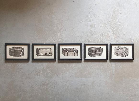 קולאז' תמונות עם הדפסי מזוודות ישנות