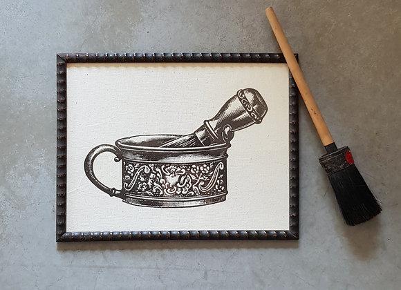 תמונת וינטג' של קערה ומברשת גילוח