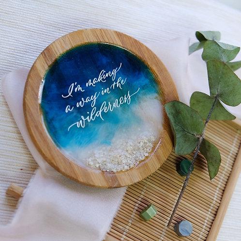 Ocean Art Calligraphy Resin Coaster