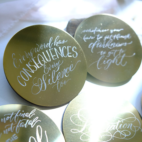 Engraved Brass coated Coaster