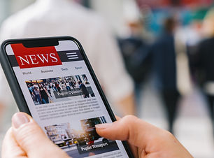 Online news on a mobile phone. Close up