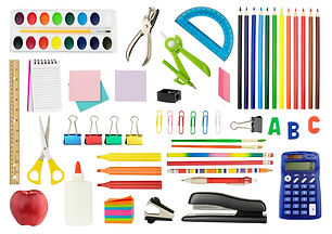 Collection of school supplies, isolated