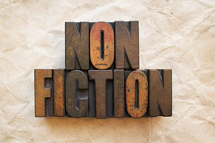 The word Nonfiction written in vintage w