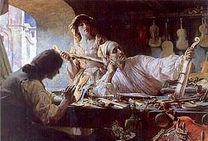 Stradivari in his workshop