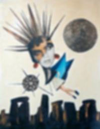 'Stonehenge Fairy', paper collage. Pagan art