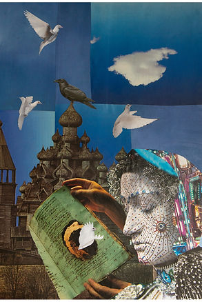 'Language of the birds', paper collage. Pagan art