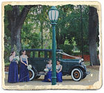 Bridemaids with vintage car Roaring Twenties Vintage Car Hire