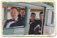 Groom and groomsmen in vintage car Bonnie Roaring Twenties Vintage Car Hire