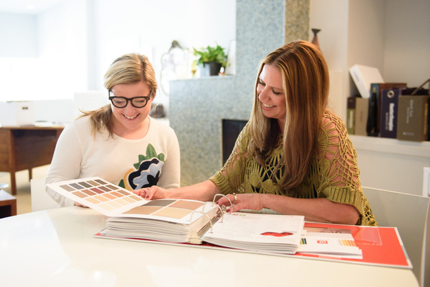 Nanci Wirt Goes Over Swatches With Design Assistant Quinci Julian At The Nwirt Studio In Downtown Elkhart Photo By Jason Bryant