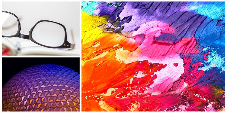 My brand logo. Top left corner is a pair of glasses bottom left is the Epcot ball, right side is splashes of paint in different colors.
