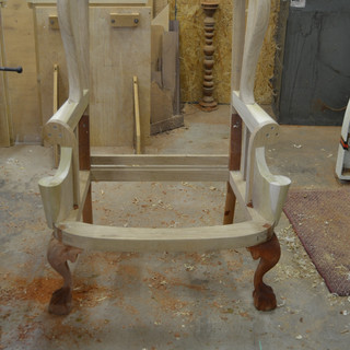 front view of chair before upholstery