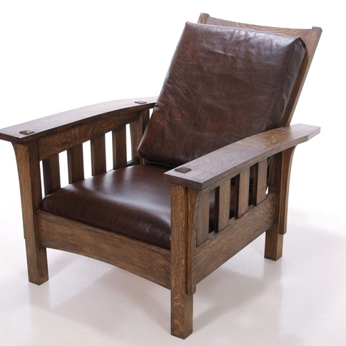 finished chair with genuine leather cushions