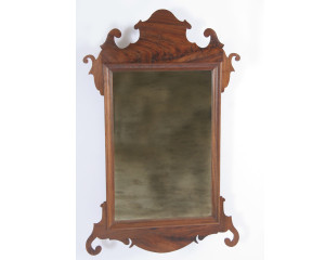 Crotch Walnut Chippendale Mirror