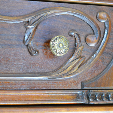 detail of drawer front carving