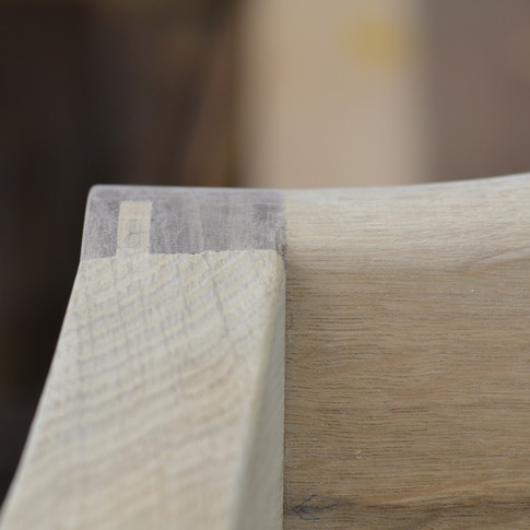 mortise and tenon joint of wing to crest rail