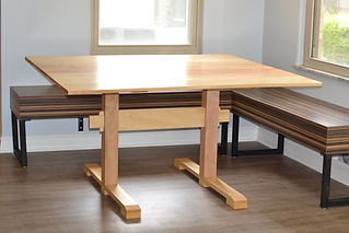 Tiger Maple Trestle Table