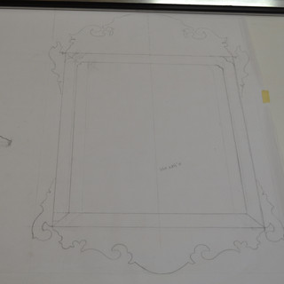 draft of Chippendale mirror with flames